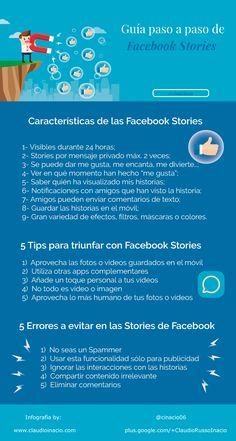 Hola: Una infografía sobreFacebook Stories: guía paso a paso. Vía Un saludo