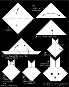Chyler made girl and boy bunnies with bows and tails Easy Origami For Kids.: Rabbit(face) Chyler made girl and boy bunnies with bows and tails Easy Origami For Kids. Origami Ball, Diy Origami, Design Origami, Origami Star Box, Origami Folding, Useful Origami, Bunny Origami, Origami Paper, Paper Folding
