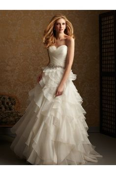 A-line Sweetheart neckline Court Organza 2012 Wedding Dresses