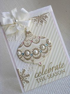 pearled Christmas ornament card