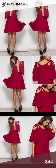 COMING SOON Maroon Bow Shoulder Skater Dress Beyond gorgeous! Cut out shoulder skater mini dress in a perfect fall maroon color. Sizes S M L, brand new. Dresses Mini