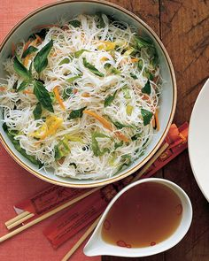 Upend your dinner routine with this easy-to-assemble dish of supple rice noodles, and raw herbs and vegetables.