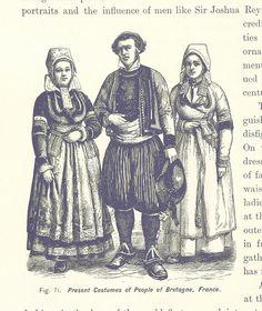 Traditionelle Gewänder der Bretagne, Frankreich im späten 19. Jahrhundert
