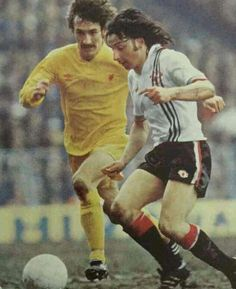 Man Utd 2 Liverpool 2 in March 1979 at Maine Road. Mickey Thomas is tracked by Terry McDermott in the FA Cup Semi Final.