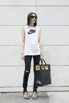 melissa araujo: Nike Tank, J Brand Jeans, Sophie Hulme Tote Bag, Shoe Dazzle Heels, 8 Other Reasons, Zara Bracelet and Ray Ban Sunnies.