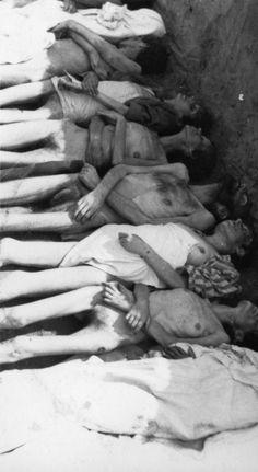Тела узников концлагеря Берген-Бельзен в могиле перед похоронами [1]
