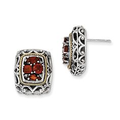 Sterling Silver w/14k Diamond & Garnet Earrings QTC681