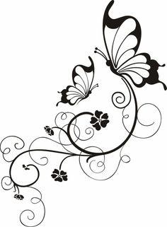 Blumenranken+Tattoo+Vorlage+zwei+Schmetterlinge+stilisierte+Blumen