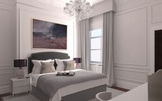 Like the colours and elegant curtains Gray Interior, Modern Interior Design, Bedroom Colors, Bedroom Decor, Elegant Curtains, Beautiful Bedrooms, Furniture Design, November 2013, Headboards