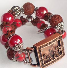 Rust and Brown Beaded Watch Band and Face  Chunky  by BeadsnTime, $30.00