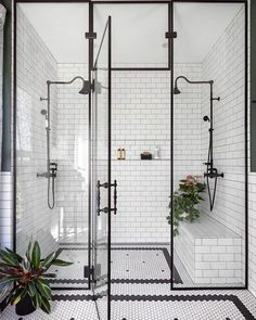 modern farmhouse master bathroom renovation with delta the process & reveal 16 Bad Inspiration, Bathroom Inspiration, Bathroom Inspo, Dream Bathrooms, Beautiful Bathrooms, Master Bathrooms, Black White Bathrooms, Bathroom Black, Shower Bathroom