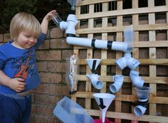 Learn with Play at Home: How to make a Water Wall for kids. Could use marbles instead for class.