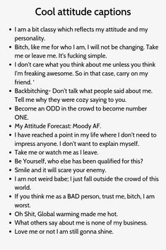Captions On Attitude, Badass Captions, Good Attitude Quotes, Instagram Captions For Selfies, Selfie Captions, Selfie Quotes, Bio Instagram, Instagram Quotes, Instagram Names