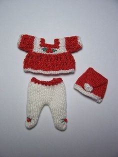 ***Christmas Handmade knitted outfit for miniature baby doll #RB313***