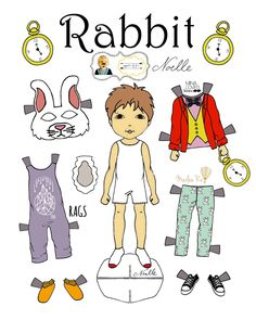 "OOF-White Rabbit* 1500 free paper dolls at artist Arielle Gabriel""s The International Paper Doll Society also free China paper dolls The China Adventures of Arielle Gabriel *"
