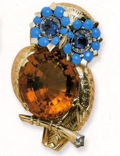 Cartier Gold brooch with tuquoises, sapphires and citrine- Vogue.it