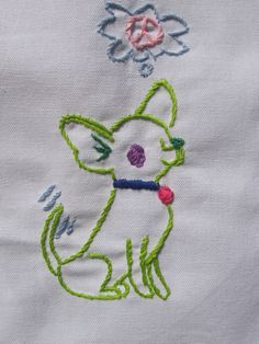 Made to order-Hand Embroidered peace Chihuahua Tea Towel by jenEembroidery on Etsy
