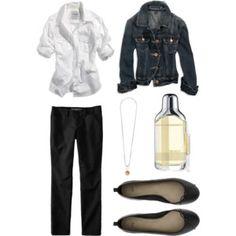 Jean jacket black pants white blouse Jewelry to dress it up