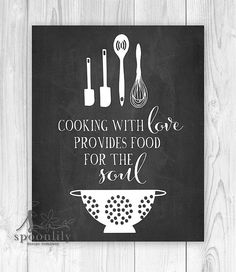 Cooking with Love Kitchen Typography Art Chalkboard by SpoonLily