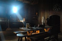 Inside longhouse at Ribe Viking Center