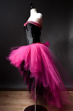 Size XXL hot pink and black tulle corset burlesque by Glamtastik