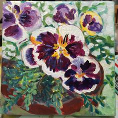 "Grange Pansies 8""x8"" mixed media on canvas SOLD"