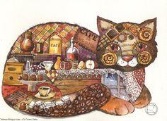 Kunstwerk >> Oxana Zaika >> morgen,kaffee und katze /verkauft