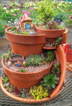 The Top Miniature Fairy Garden Design Idea - Dova Home Fairy Garden Pots, Garden Terrarium, Fairy Garden Houses, Succulents Garden, Fairy Gardening, Garden Shade, Gardening Quotes, Broken Pot Garden, Pot Jardin