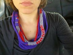 necklace crochet wool colors: purple, red and grey