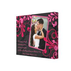 Pink Black Floral Wedding Photo Template Canvas Gallery Wrapped Canvas