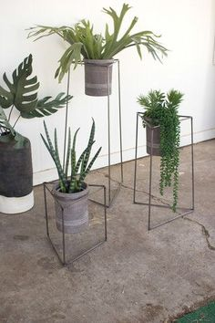 Kalalou Nesting Iron Triangle Planters with Grey Wash Clay Pots in a set Of 3…