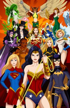 Girl Power! All female Justice League! Wonder Woman, Supergirl, Batgirl, Vixen, Black Canary, PowerGirl, Huntress, Mary Marvel, StarGirl, Zatana, Mera, Jade and Hawkgirl. This is going to be available havencon April 4th and 5th. facebookenjoy!