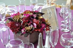 Table Centerpiece with Calla Lilies, Ranunculus, Dalias and Orchids in an elegant wooden box.
