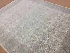 8 X 10 Muted Beige Aqua Oushak Geometric Persian Oriental Area Rug Hand Knotted #PersianOrientalRug #Tribal