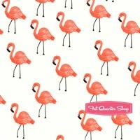 Les Fleurs Cotton Lawn Ivory Flamingos Yardage SKU# 8007-11