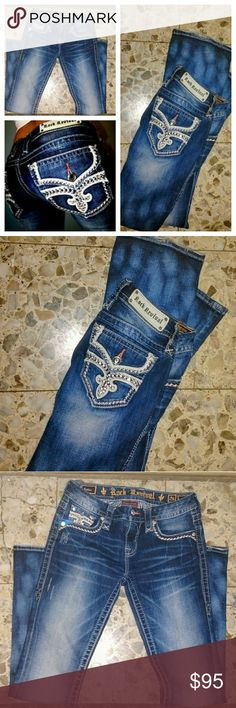 Rock Revival 26 ester acid wash stretch bling Excellent condition tiny bit of wear at the bottom other than that excellent condition just too big for me.  I will only trade for this pair in a 25 or  betty 24 Rock Revival Jeans Boot Cut