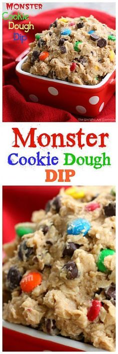 Monster Cookie Dough Dip - peanut butter, chocolate chips, m&ms, oats all in a dip. I've eaten a whole bowl by myself. the-girl-who-ate-everything.com