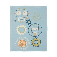Baby Bot Decorative Infant Baby Blue Robot Plush Blanket by Lolli Living #LolliLiving