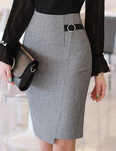Circle Buckle Side Detail Wrap Style Pencil Skirt Romantische und trendige Looks, Styleonme Mom Outfits, Girly Outfits, Skirt Outfits, Dress Skirt, Fashion Outfits, Fashion Tips, Maxi Dresses, Latest Fashion, Casual Dresses