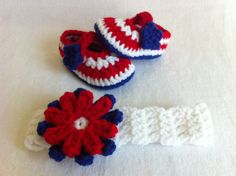 4th of July and Memorial Day Patriots Flower Headband and Mary Janes Booties Set - Red White Blue - 3 Sizes- Crochet Summer Baby Shoes - Patriots Baby, Patriotic Baby, Military Baby $22