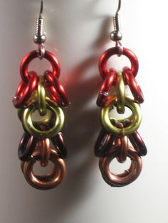 Colorful Chainmaille Earrings by fnggrant on Etsy, $9.00