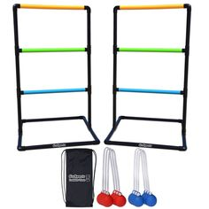 Ladder Toss Game Set with 6 rubber Bolos and carrying case New Free Shipping