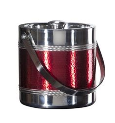 Oggi Hammered Beaded 3.2-Quart Double Wall Ice Bucket, Red by Oggi. $26.99. Great for bars, parties and entertaining. Elegant hand-accented, hand beaded design. Hand washing recommended. Hammered stainless steel with red accents. 3.2-Quart double wall bucket. This handsome hand-accented collection with vibrant color accents and detailed beading add a nice touch of elegance to any home or bar decor. Due to the handcrafted nature of these, no two pieces will be exa...