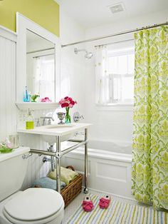 Design Manifest: Cottage Talk: Bathroom  Inspiration- love the color,the paneling, the shower curtain... so bright and cheery!