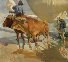 """Joaquin Sorolla y Bastida Spanish, 1863 - 1923 Oxen on the Beach, 1910 """"They"""" tell us that as of yesterday, summer is over. Yet, when you lose yourself in a painting . Manet, Claude Monet, Figure Painting, Painting & Drawing, Valencia, Memorial Art Gallery, Cow Art, Spanish Painters, Paintings I Love"""