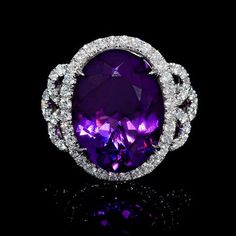 Diamond and Purple Amethyst 18k White Gold Ring
