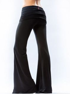HARD TAIL FOREVER Black Rolldown Wide Leg Flare Pants Activewear Lounge Size L #HardTail #PantsTightsLeggings