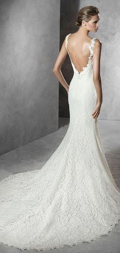 pronovias plunging v back mermaid lace wedding dresses 2016 PRUVA_C