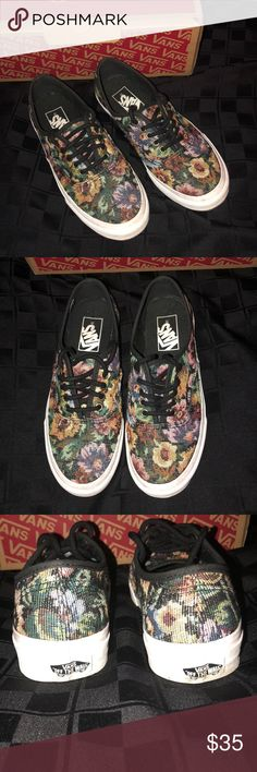 Hot 🔥Tapestry Floral Vans! Temporary SALE Authentic Slim Tapestry Floral  Black Vans. Men 5.5 Women 7.0 . Awesome shoe that is no longer available! e08170cef