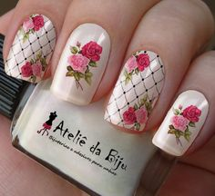 Here is a tutorial for an interesting Christmas nail art Silver glitter on a white background – a very elegant idea to welcome Christmas with style Decoration in a light garland for your Christmas nails Materials and tools needed: base… Continue Reading → Rose Nail Art, Floral Nail Art, Rose Nails, Flower Nails, My Nails, Flower Nail Designs, Nail Designs Spring, Nail Art Designs, Vintage Nails